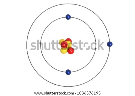 bohr diagram for lithium 1999 ford ranger xlt radio wiring atom model proton neutron stock illustration royalty with and electron 3d