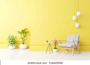 yellow interior empty armchair fabric living shutterstock rendering plants lamp
