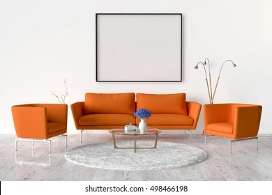 living room sofa two chairs decorating ideas tall walls table stock illustration royalty free and on the wall of an empty