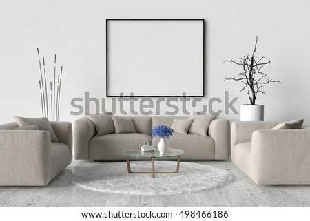 living room sofa two chairs carpet placement table stock illustration royalty free and on the wall of an empty