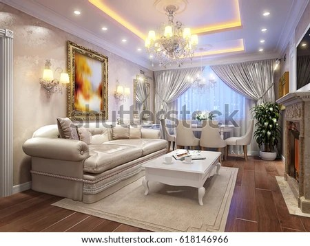 classic living room designs aqua blue furniture royalty free stock illustration of luxurious baroque interior design with large marble fireplace wooden floors white