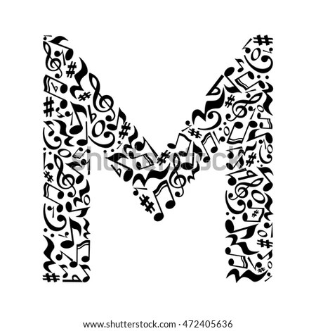 M Letter Made Musical Notes On Stock Illustration
