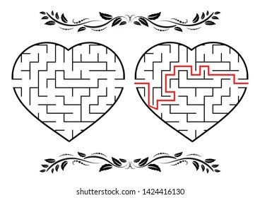 Heart Shaped Maze Images, Stock Photos & Vectors