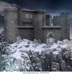 Medieval Fantasy Castle Mountain Scenery 3d Stock Illustration 1039909342