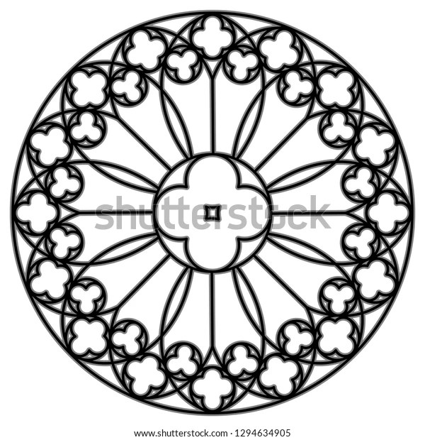 Medieval Round Ornament Stained Glass Gothic Stock