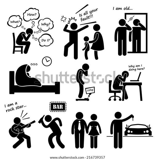 Midlife Crisis Middle Age Man Problem Stock Illustration