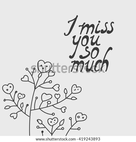 Miss You Much Hand Drawing Lettering Stock Illustration
