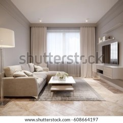 Living Room Decorating Ideas Beige Couch With Brown Leather Furniture Modern Gray Interior Stock Illustration 608664197 Design Large Light Sofa And White Curtains