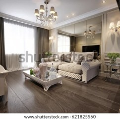 Traditional Living Room Interior Design Small Apartment Decorating Ideas Modern Classic New Stock Illustration With Gray Brown Glossy Chrome Furniture Tv Area