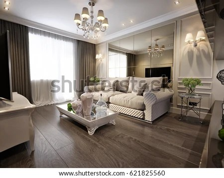 traditional pictures for living room ideas modern classic new stock illustration interior design with gray brown glossy chrome furniture tv area