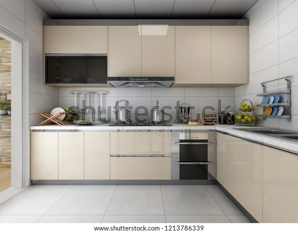 Modern Kitchen Design Clean Tidy Cabinets Stock Illustration 1213786339