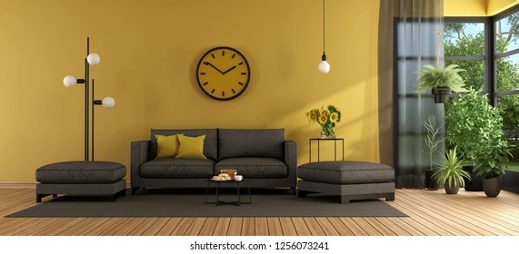 living room footstool modern armchairs for images stock photos vectors shutterstock with gray sofa and against yellow wall 3d rendering