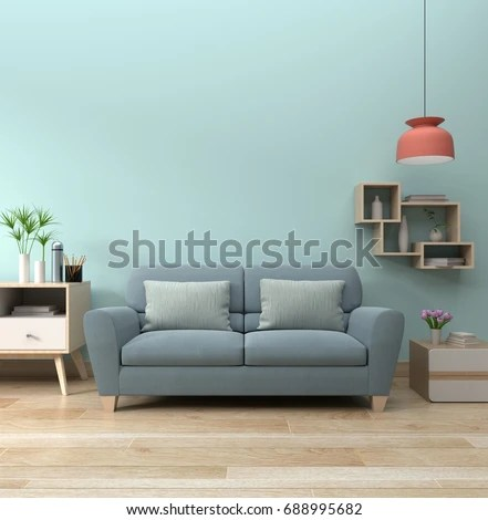 blue modern living room rp interior sofa lamp stock illustration 688995682 with and green plants on wall background minimal