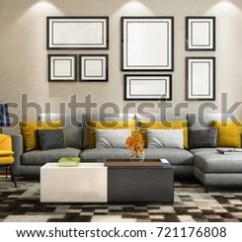 Modern Living Room Couches Ceiling Design Philippines Sofa Set Multi Stock Illustration Royalty Free With Picture Frame On Wall Elevation 3d Render