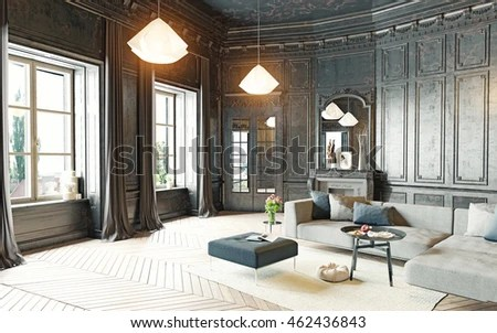 modern black living room area rugs for size style apartment stock illustration 3d rendering