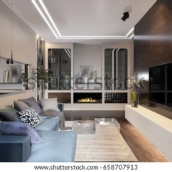 Hotel With Living Room Slipcover Sets Modern Urban Contemporary Stock Illustration Interior Design Gray Beige Walls Fireplace Aquarium
