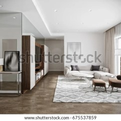 Hotel With Living Room Curtain Fabric Modern Urban Contemporary Stock Illustration Interior Design White Walls Tv Kitchen