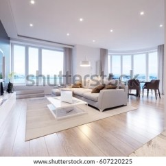 Modern White Living Rooms Decoration Ideas For Large Room Walls Gray Interior Stock Illustration 607220225 Design With Big Windows And Beautiful Sea Mountain Views