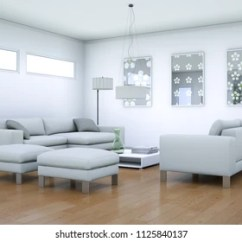 Modern White Living Rooms How To Decorate A Small Apt Room Upholstered Lounge Suite Stock Illustration Interior Design 3d