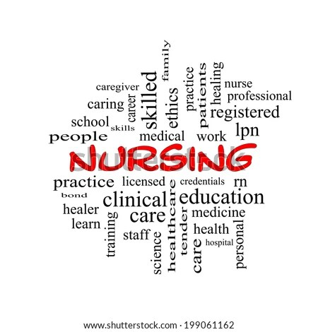 Nursing Word Cloud Concept Red Caps Stock Illustration