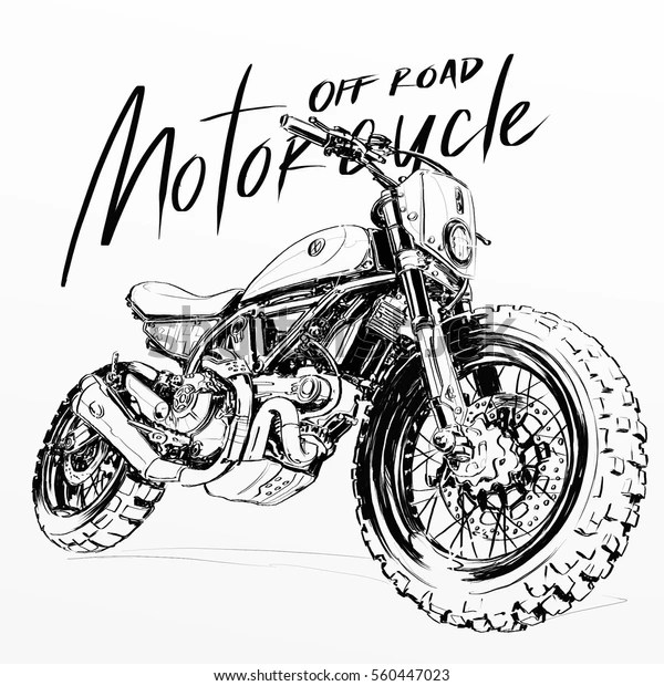 Off Road Motorcycle Poster Illustration Hand Stock