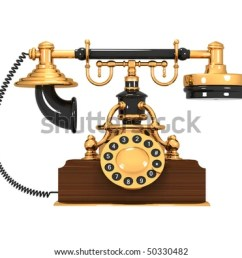 an old antique retro phone over white background [ 1000 x 833 Pixel ]