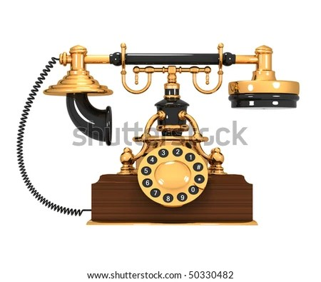 medium resolution of an old antique retro phone over white background