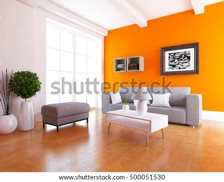 scandinavian living room furniture beautiful curtains uk orange sofa interior stock illustration royalty with 3d