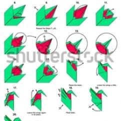 Origami Hummingbird Diagram Instructions Derbi Senda Sm 50 Wiring Royalty Free Stock Illustration Of Animal Bird Steps