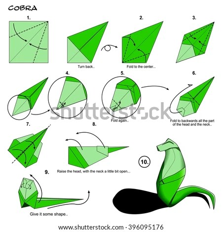 origami flower diagram in english 66 block wiring 25 pair animal snake cobra instructions stock illustration step by paper folding art