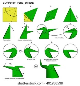 origami hummingbird diagram instructions 7 core trailer wiring royalty free stock illustration of animal bird support steps