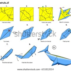 Origami Hummingbird Diagram Instructions V6 Engine Sea Ocean Animal Traditional Whale Stock Illustration Steps