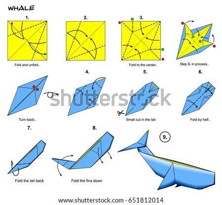 origami hummingbird diagram instructions hot rod wiring sea ocean animal traditional whale stock illustration steps