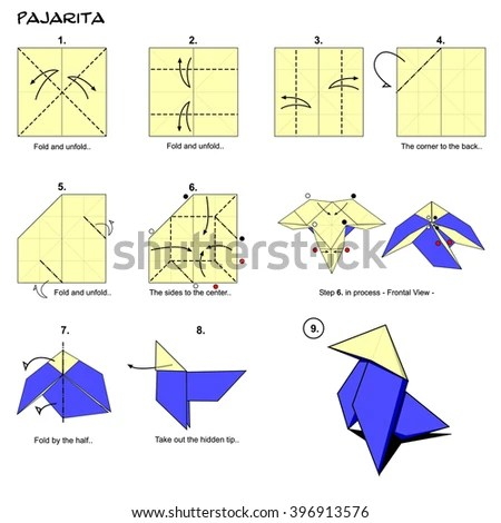 origami hummingbird diagram instructions double pole socket wiring traditional bird spanish pajarita stock illustration step by paper folding art