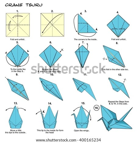 origami paper crane diagram 1971 chevelle radio wiring traditional japan tsuru stock illustration instructions step by paperfolding art