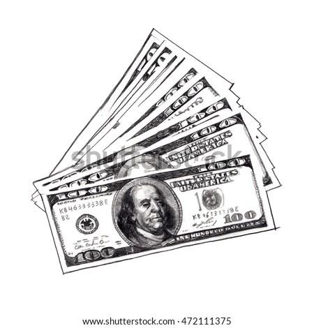 Pencil Drawing US Dollars Bills Stock Illustration