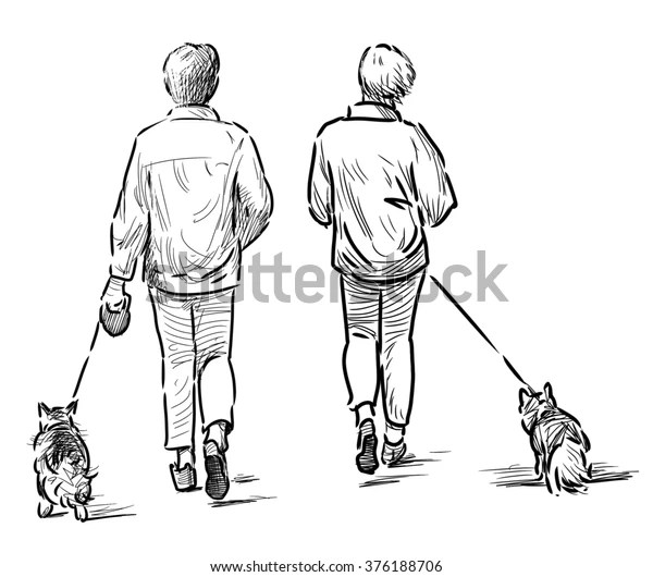 Persons Their Pets Stock Illustration 376188706