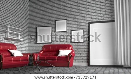 red sofa white living room small diy brick stock illustration 713929171 in a with wall background 3d rendering