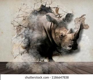 3d rhinoceros stock illustrations
