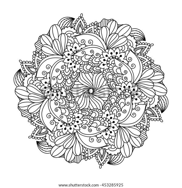 Round Element Coloring Book Black White Stock Illustration