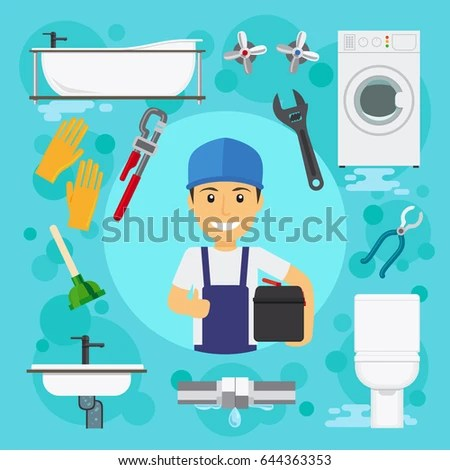 Sanitary Engineering Plumber Plumbing Work Water Stock Illustration 644363353 - Shutterstock
