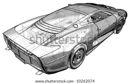 Schematic Illustration Jaguar XJ 220 Stock Illustration