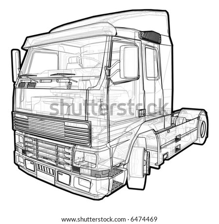 Schematic Illustration Volvo Truck Stock Illustration