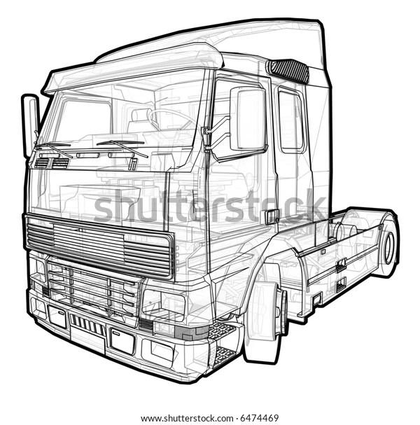 Schematic Illustration Volvo Truck Stock Illustration 6474469