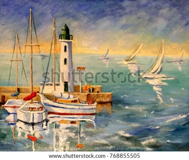 Seascape With Boats And Lighthouse Oil Painting On Canvas