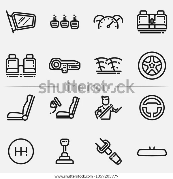 Set Car Interior Details Outline Icon Stock Illustration