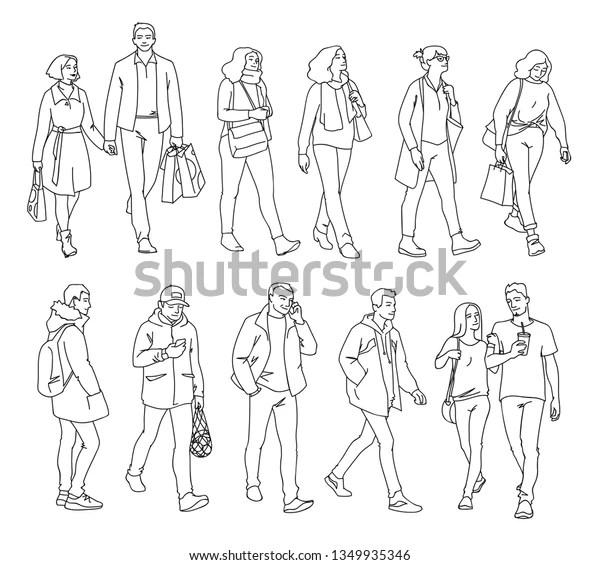 Set Men Women Standing Walking Monochrome Stock