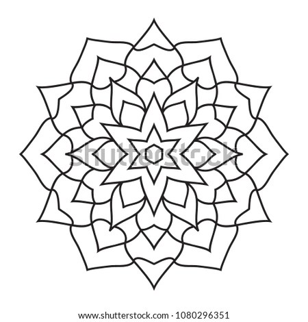 Simple Basic Easy Mandalas Coloring Pages Stock