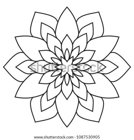 Simple Mandala Easy Beginners Senior Adults Stock