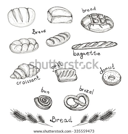 Sketch Hand Drawn Set Bakery Products Stock Illustration